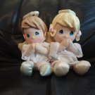 Vintage 2002 And 2008  Precious Moments Girl Boy Angel Talking Praying Lovey Plushes 9""