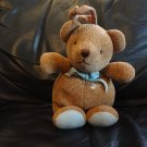 Vintage Carters Classics Brown Knit Teddy Bear Light Blue Bow Musical Crib Pull Toy 11""
