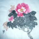 Original Chinese Brush Painting Red Flower FREE SHIPPING
