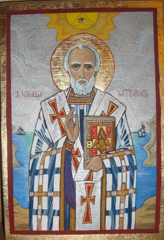 Icon Wood Handpainted Saint Nicolas Gold