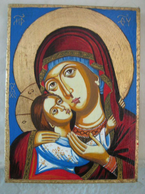 Icon Wood Handpainted Virgin Mary Christ Jesus Gold