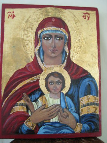 Handpainted Icon Virgin Mary Christ Jesus Wood Gold