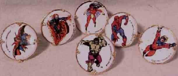 VINTAGE MARVEL SUPERHERO SET OF 6 METAL RINGS L@@KY~