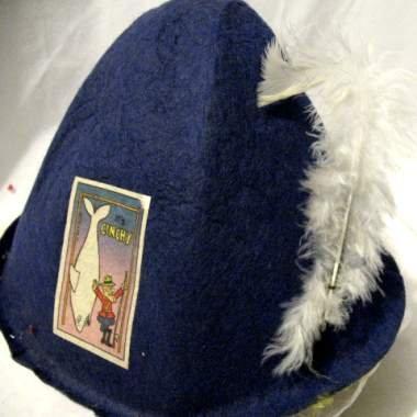 60s BLUE FELT CARNIVAL HAT DUDLEY DORIGHT W/ WHITE FISH