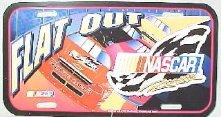 NASCAR FLAT OUT COLOR LISCENSE PLATE MINT UNUSED CONDITION