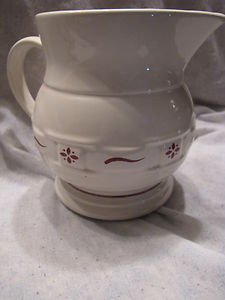 Longaberger Woven Traditions-red 64 Oz Pitcher ceramic. Made in the USA