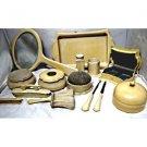 Antique cream celluloid vanity set by Ivory Du Barry Py-Ra-Lin 19 piece set.