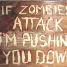 "Zombie handpainted sign ""If Zombies attack......I''m pushing you down!  signed"