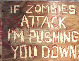 """Zombie handpainted sign """"If Zombies attack......I''m pushing you down!  signed"""