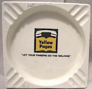 Vintage 1950s Yellow Pages advertising square ashtray white with logo in center