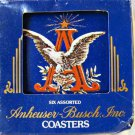 Budweiser set of six assorted tin coasters MIB contains six different designs!