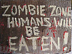 Zombie Zone Ahead..Humans will be Eaten hand painted wooden Sign by CJ  studios