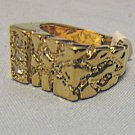 Gold rectangular nugget ring with 3  side stones by Seta electro plated finish