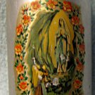 "AntiqueLady of the Lourdes souvenir aluminum bottle/flask 6"" x  2 1/2 "" size"