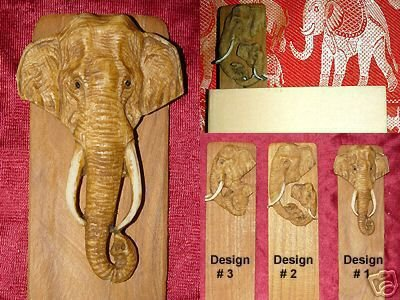 WHOLESALE LOT of 12 TEAK BOOKMARKS: TUSKED ASIAN BULL ELEPHANT HEAD #1- FREE SHIPPING WORLDWIDE
