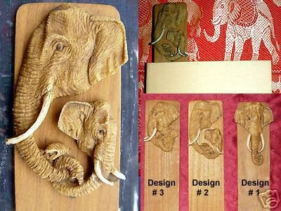 WHOLESALE LOT of 12 TEAK BOOKMARKS: TUSKED ASIAN BULL ELEPHANTS #2- FREE SHIPPING WORLDWIDE