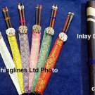 Handmade Hardwood Chopsticks: Wood Inlays & Elephant Head Silk Cases - FREE SHIPPING WORLDWIDE