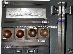 DELUXE EBONY ROSEWOOD CHOPSTICK SET (4 pairs of chop sticks): THAI ROYAL BARGE CASE - FREE SHIPPING