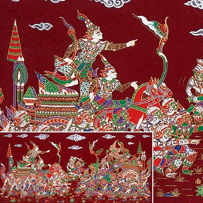 THAI SILK Large Silkscreen  Wall Hanging KINGS in BATTLE #15 Red � FREE Shipping WORLDWIDE