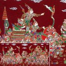 THAI SILK Large Silkscreen  Wall Hanging KINGS in BATTLE #15 Red – FREE Shipping WORLDWIDE