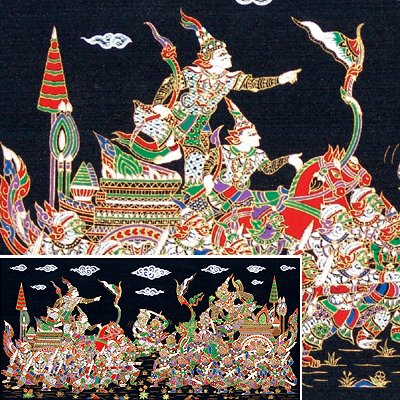 THAI SILK Large Silkscreen  Wall Hanging KINGS in BATTLE #15  � FREE Shipping WORLDWIDE