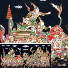 THAI SILK Large Silkscreen  Wall Hanging KINGS in BATTLE #15  – FREE Shipping WORLDWIDE