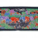 THAI SILK Large Silkscreen  Wall Hanging ELEPHANT WATERING HOLE #14 – FREE Shipping WORLDWIDE