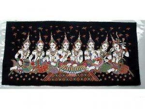 THAI SILK Large Silkscreen Wall Hanging SIAM MUSIC GIRLS #13 � FREE Shipping WORLDWIDE