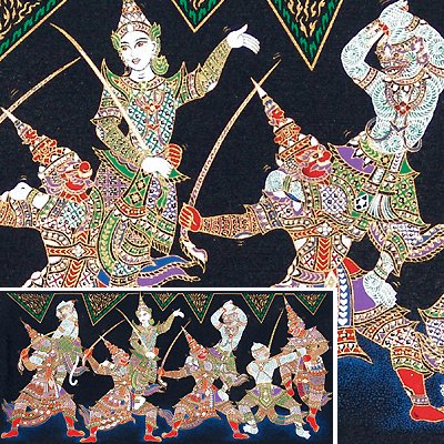 THAI SILK Large Silkscreen  Wall Hanging SIAM KHON DANCERS #12 � FREE Shipping WORLDWIDE