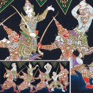 THAI SILK Large Silkscreen  Wall Hanging SIAM KHON DANCERS #12 – FREE Shipping WORLDWIDE