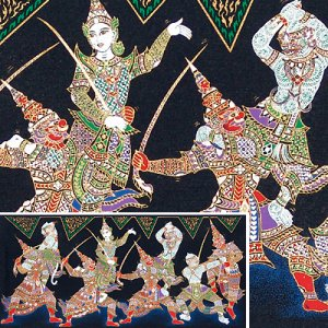 THAI SILK Large Silkscreen  Wall Hanging SIAM KHON DANCERS #12 � FREE Shipping WORLDWIDE