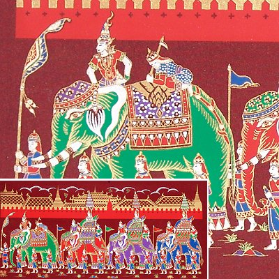 THAI SILK Large Silkscreen  Wall Hanging GRAND PALACE ELEPHANTS Red #11 � FREE Shipping WORLDWIDE