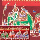 THAI SILK Large Silkscreen  Wall Hanging GRAND PALACE ELEPHANTS Red #11 – FREE Shipping WORLDWIDE