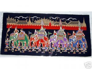 THAI SILK Large Silkscreen  Wall Hanging GRAND PALACE ELEPHANTS #11 � FREE Shipping WORLDWIDE