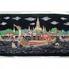 THAI SILK Large Silkscreen  Wall Hanging ROYAL BARGES #10 – FREE Shipping WORLDWIDE