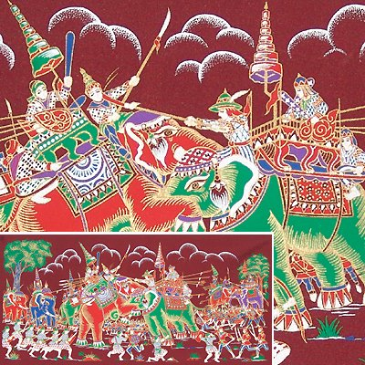 THAI SILK Large Silkscreen  Wall Hanging ELEPHANT WAR BATTLE #9 Red � FREE Shipping WORLD