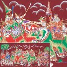 THAI SILK Large Silkscreen  Wall Hanging ELEPHANT WAR BATTLE #9 Red – FREE Shipping WORLD