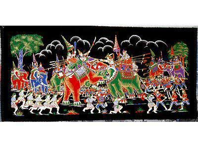 THAI SILK Large Silkscreen  Wall Hanging ELEPHANT WAR BATTLE #9 � FREE Shipping WORLDWIDE