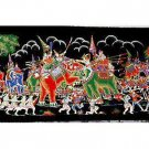 THAI SILK Large Silkscreen  Wall Hanging ELEPHANT WAR BATTLE #9 – FREE Shipping WORLDWIDE