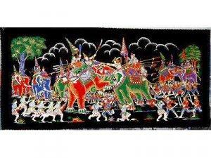 THAI SILK Large Silkscreen  Wall Hanging ELEPHANT WAR BATTLE #9 � FREE Shipping WORLDWIDE