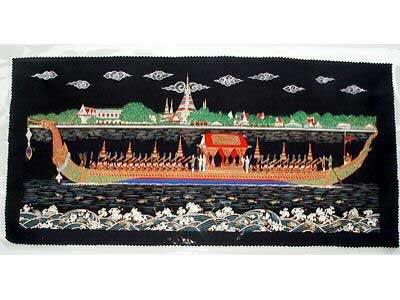 THAI SILK Large Silkscreen  Wall Hanging ROYAL BARGE #8 � FREE Shipping WORLDWIDE