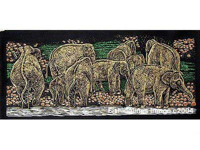 THAI SILK Large Silkscreen  Wall Hanging ELEPHANTS at RIVER BANK #7 � FREE Shipping WORLDWIDE