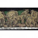 THAI SILK Large Silkscreen  Wall Hanging ELEPHANTS at RIVER BANK #7 – FREE Shipping WORLDWIDE
