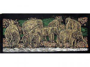 THAI SILK Large Silkscreen  Wall Hanging ELEPHANTS at RIVER BANK #7 � FREE Shipping WORLDWIDE