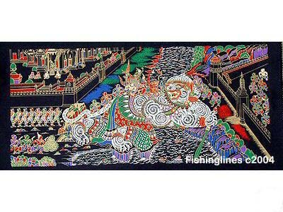 THAI SILK Large Silkscreen  Wall Hanging GRAND PALACE KHON DEMON #6 � FREE Shipping WORLDWIDE