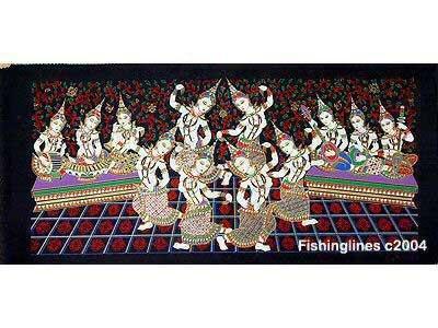 THAI SILK Large Silkscreen  Wall Hanging SIAM DANCE MUSIC GIRLS #5 � FREE Shipping WORLDWIDE
