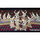THAI SILK Large Silkscreen  Wall Hanging SIAM DANCE MUSIC GIRLS #5 – FREE Shipping WORLDWIDE