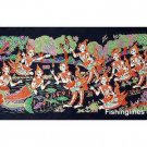 THAI SILK Large Silkscreen  Wall Hanging SIAM MAIDENS in PLAY #4 – FREE Shipping WORLDWIDE