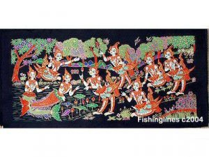 THAI SILK Large Silkscreen  Wall Hanging SIAM MAIDENS in PLAY #4 � FREE Shipping WORLDWIDE
