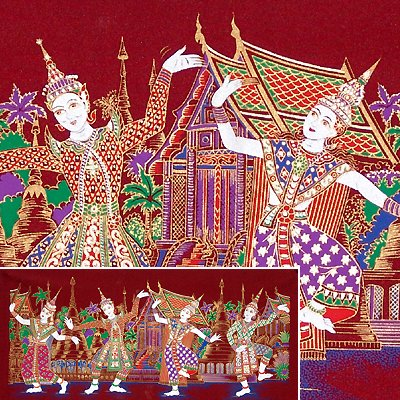 THAI SILK Large Silkscreen  Wall Hanging SIAM VILLAGE DANCERS #3 Red � FREE Shipping WORLDWIDE